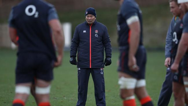 Eddie Jones looks on during the England training session held at Pennyhill Park.