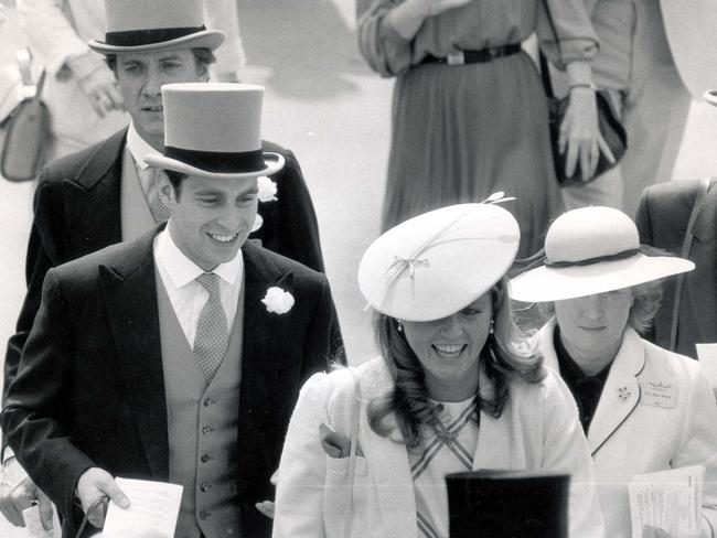 Prince Andrew with then-girlfriend Sarah Ferguson at Ascot in 1985. Picture: Splash/Paul Fievez/Daily Mail/REX/Shutterstock