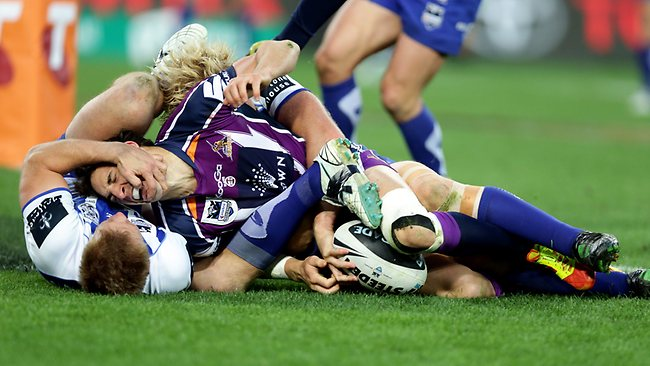 Billy Slater scores off an incredible ball from Cooper Cronk. Picture: Gregg Porteous