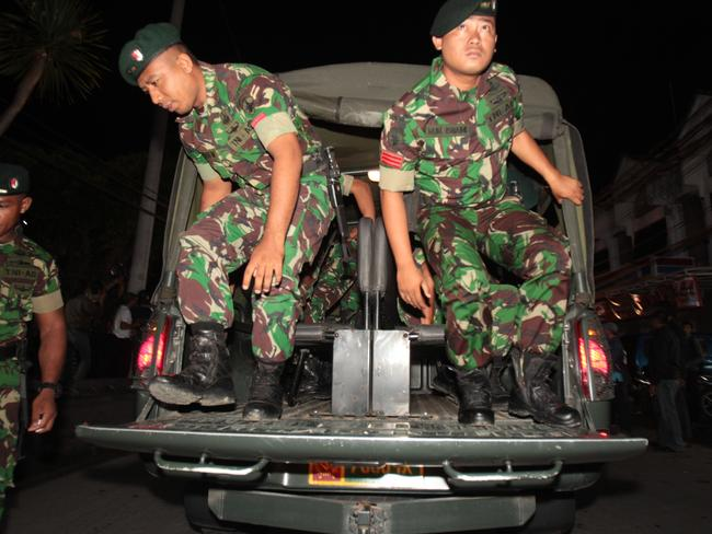 Army personnel were used to secure the area around the jail. Picture: Lukman S Bintoro