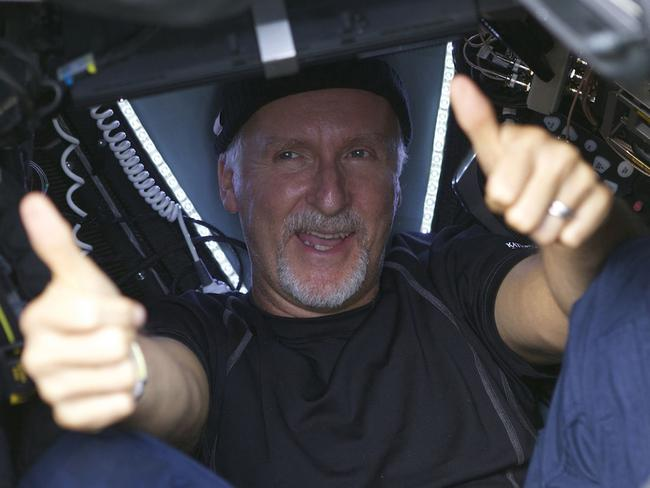 James Cameron gives two thumbs-up after his dive. Picture: Mark Thiessen / National Geographic