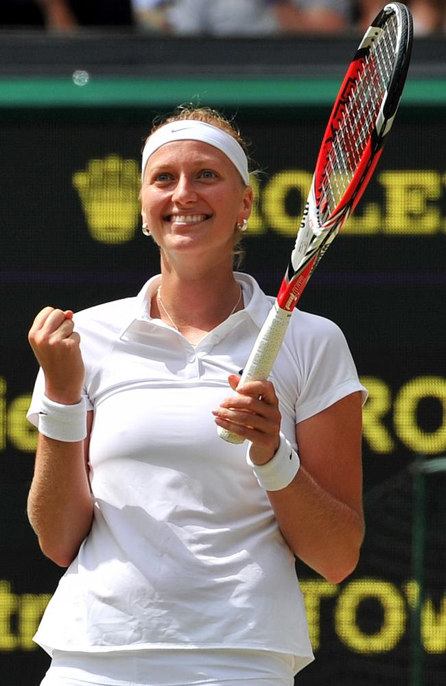 Petra Kvitova after winning match point to move into her second Wimbledon final.