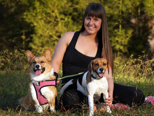 Dog walker Laura Banks. Laura's clients are workers that have long commutes and can't exercise their dogs.