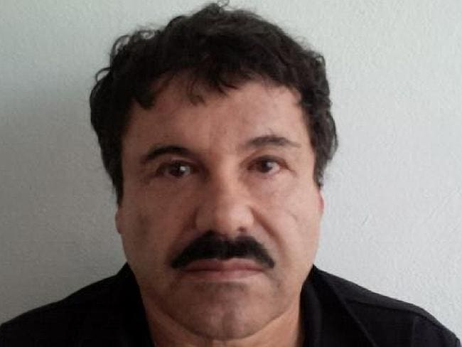 "Big boss ... Joaquin ""El Chapo"" Guzman is photographed against a wall after his arrest in the Pacific resort city of Mazatlan, Mexico. Picture: PGR"