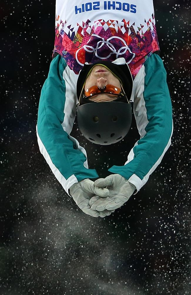 Australia's David Morris jumps during the men's freestyle skiing aerials final at the Rosa Khutor Extreme Park.