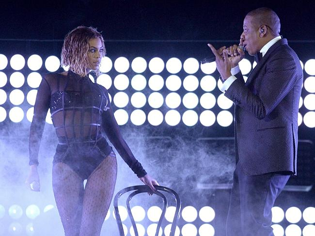 Getting steamy ... Beyonce and rapper Jay Z impressed the crowd with their performance at the Grammy Awards. Picture: AFP