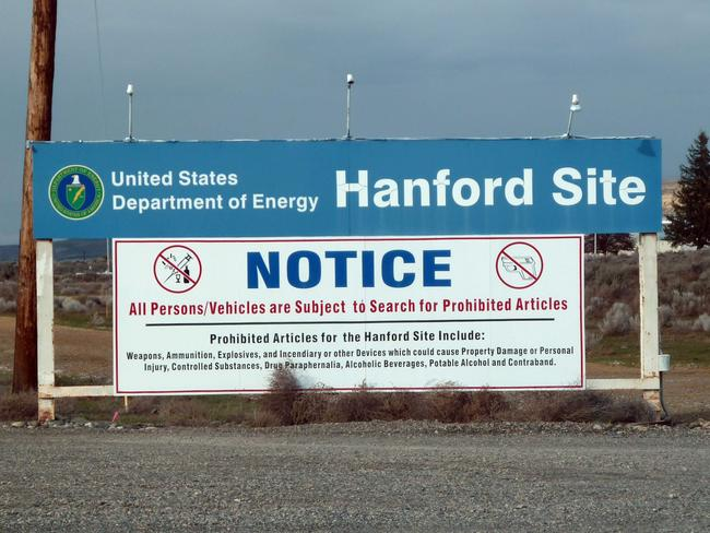 A sign warning visitors of searches for prohibited materials as they near the Hanford nuclear site in Hanford, Washington. Picture: AFP