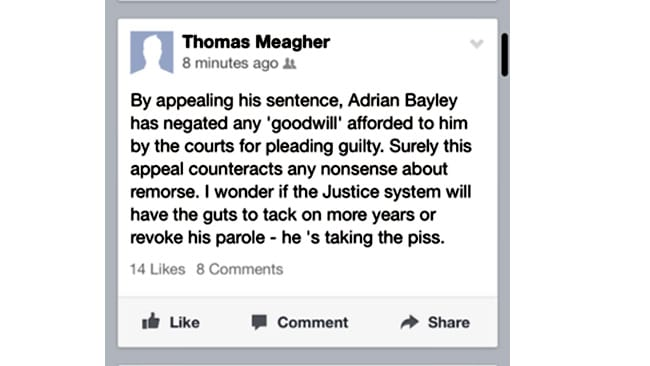 Tom Meagher FB post on Adrian Bayley