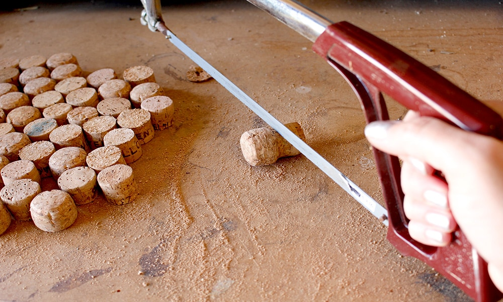 recycling old corks into a corkboard