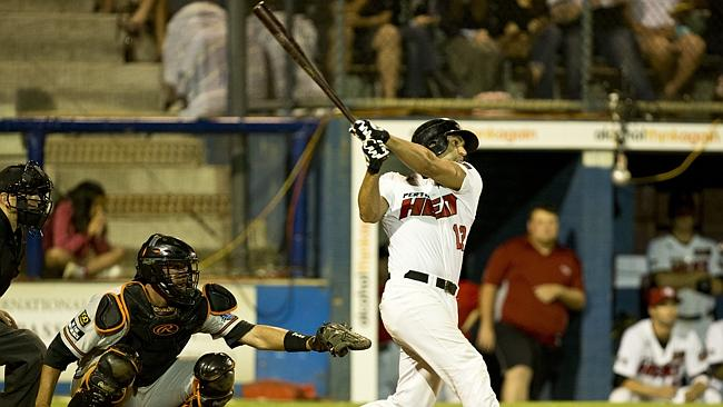 Perth Heat's Brandon Tripp tries to hit one out of the park, but comes short. Picture: Matthew Poon