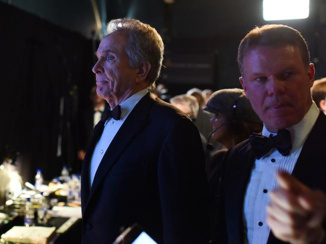 Warren Beatty and Brian Cullinan backstage at the Oscars. Picture: Splash