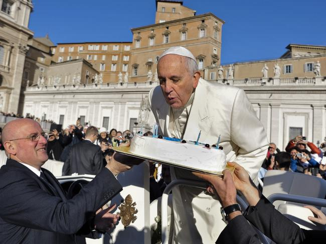 Celebration ... Pope Francis turned 78 on Wednesday. Picture: AP Photo/L'Osservatore Romano
