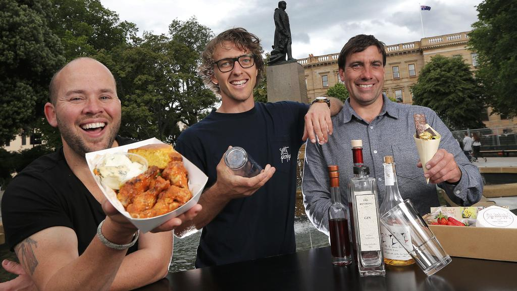 Dale Jeffery, Angus Burton and Daniel Leesong will be three of many stallholders at the inaugural Franco Street Eats at Franklin Square this evening. Picture: LUKE BOWDEN