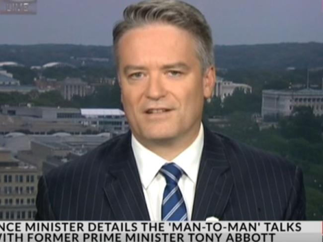 Mathias Cormann offers his take on his 'man-to-man' talk with Tony Abbott. Picture: Sky News