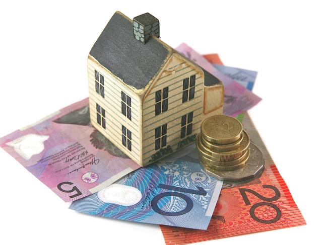 Home loan with dollars and coins from Australia. housing, Australian money, generic property