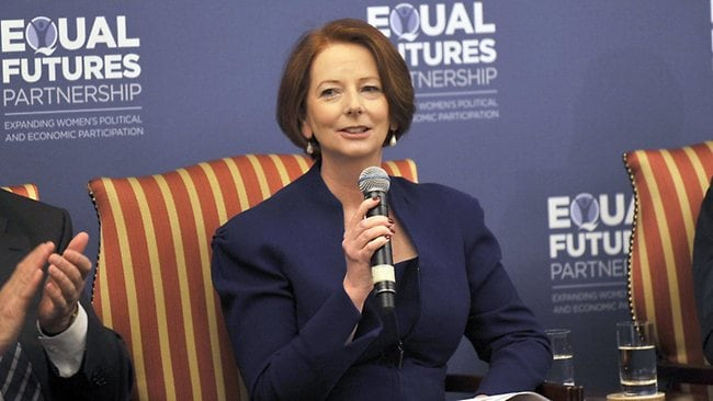 """Prime Minister Julia Gillard speaking at """"Equal Futures Partnership"""" hosted by US Secretary of State Hillary Clinton."""