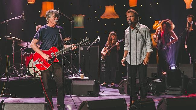 Fans howled for them ... Neil Finn and his mate Pearl Jam frontman Eddie Vedder. Picture: Supplied