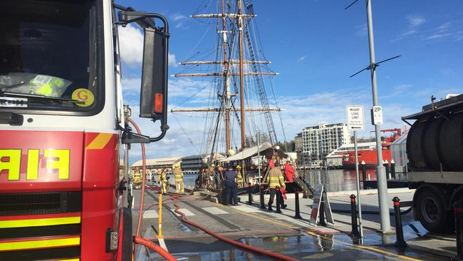 A Tasmania Fire Service truck and a waste pumper on the docks after a Hazmat callout to the Windeward Bound sail-training vessel early this afternoon. Picture: PATRICK BILLINGS