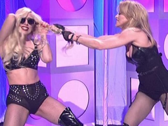 This fight's for real ... Singers Madonna and Lady Gaga, seen here play fighting during an SNL skit, are at war again.