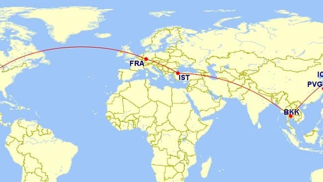 Here is what my flight path to Shanghai looked like