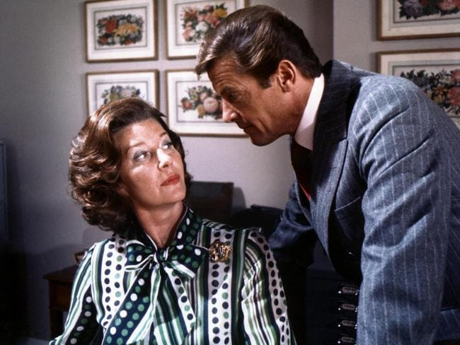 Lois Maxwell as Moneypenny alongside Roger Moore in the James Bond movie,  <i>The Spy Who Loved Me</i>. Picture: Supplied