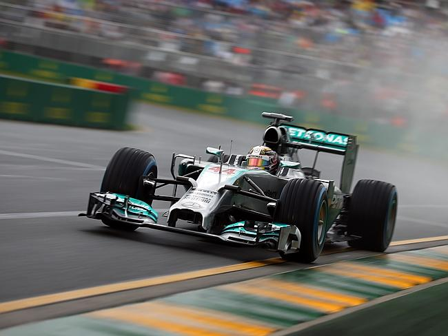 Lewis Hamilton of Great Britain and Mercedes GP drives on his way to finishing first during qualifying for the Australian Formula One Grand Prix in Melbourne, Australia. Picture: Robert Cianflone