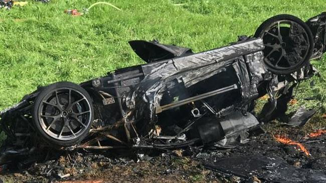 Richard Hammond's burnt out car. Picture: Amazon