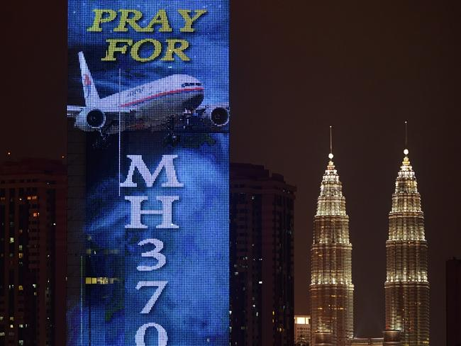 Still hoping ... a giant message of support in Kuala Lumpur.