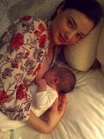 Proud breastfeeder Miranda Kerr made headlines when she shared this intimate breastfeeding snap on social media. Picture: Instagram