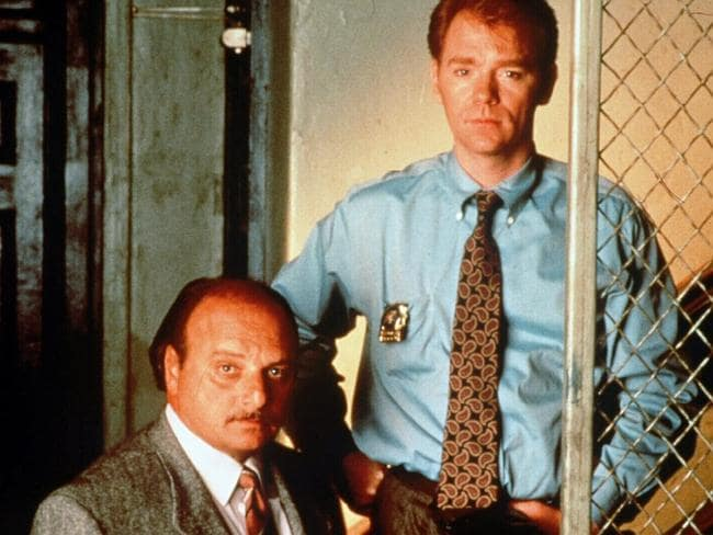 """David Caruso with fellow screen detective Dennis Franz in """"NYPD Blue""""."""