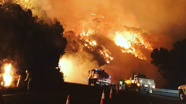 Firefighters battle the bushfire near Separation Creek on Christmas Day. Picture: Supplied