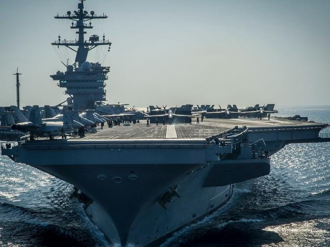 The Nimitz-class aircraft carrier USS Carl Vinson (CVN 70) preparing for flight operations. Picture: AFP