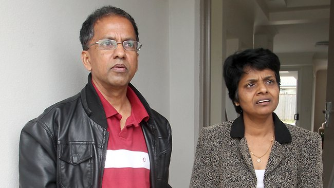 Ananda and Badra Pathirana, Forest Lake neighbours of Robert and Lily Walker, who were killed in a car crash near Childers. Picture: Glenn Barnes