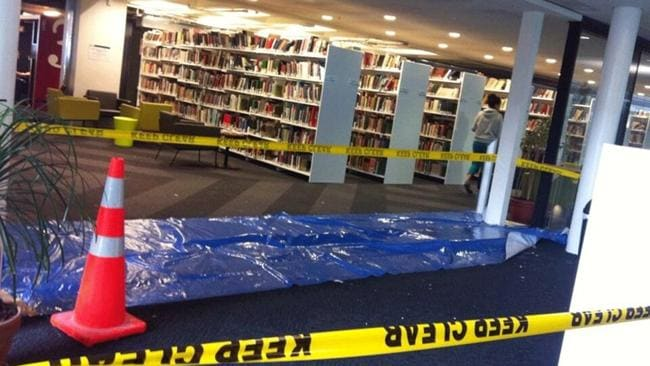 More damage at the library in Victoria University, Wellington. Picture: Twitter/Salient