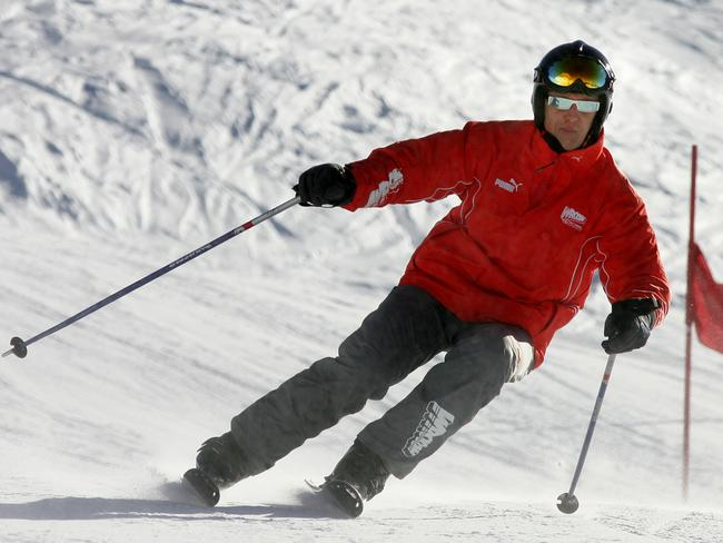 Michael Schumacher skiing at a northern Italian resort in 2005.