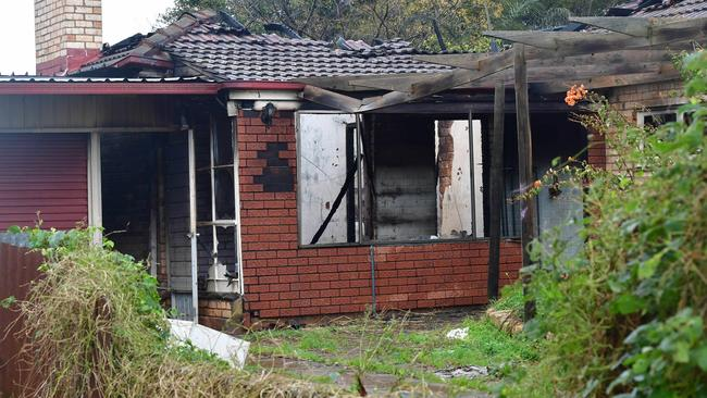 The vacant house has been destroyed by a suspicious fire. Picture: AAP/Keryn Stevens