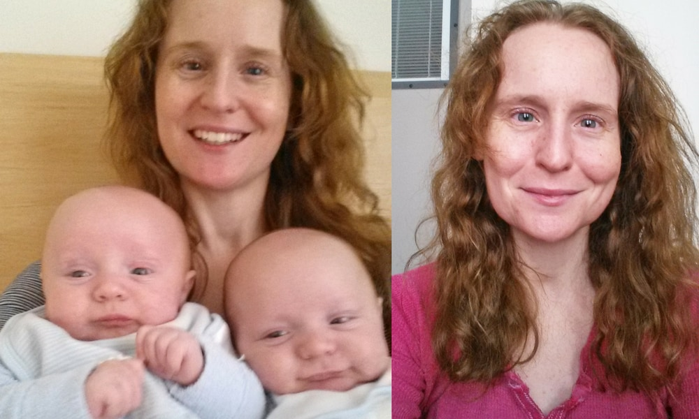 (left) with twins (right) a selfie from hospital. Picutres supplied.