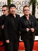 Golden Globes 2014 Red Carpet arrivals at the Beverly Hilton: Musicians Larry Mullen Jr., The Edge and Bono of U2. Picture: Getty