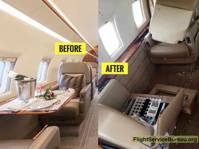 Before and after scenes from the interior of a Bombardier Challenger 64 which suffered damage after flying into the wake of an Australia bound A380.