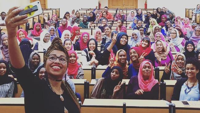Yassmin Abdel-Magied visits a university in Sudan during her speaking tour in November last year.