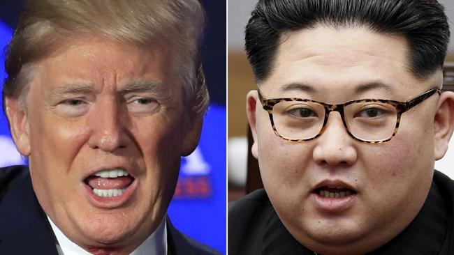 Donald Trump, left, and Kim Jong-un, right. Picture: AP
