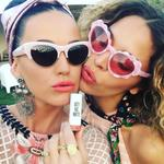 Katy Perry shows off her own lippy at Coachella 2016. Picture: Twitter