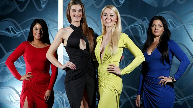 Designer Sofia Kapiris dressed in red with (from left) models Rebecca Boggiano and Naomi Bailey and her business partner Leannda Kapiris. Picture: Simon Cross