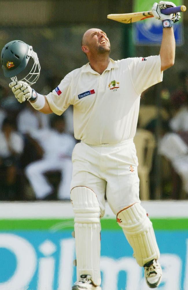 Darren Lehmann looks to the heavens in memory of David Hookes after scoring a ton against Sri Lanka.