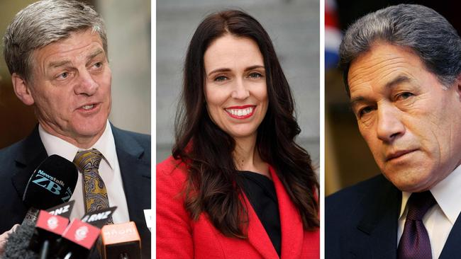Former PM Bill English, new PM Jacinda Ardern and powerbroker Winston Peters.