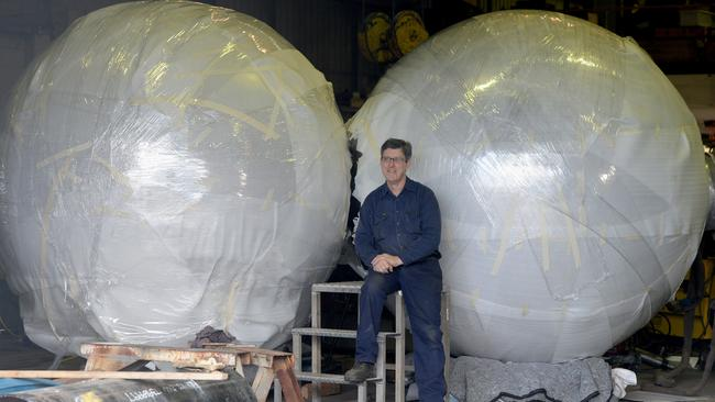 The newly-shone Malls Balls wrapped in bubble wrap before they are taken back to Rundle Mall.
