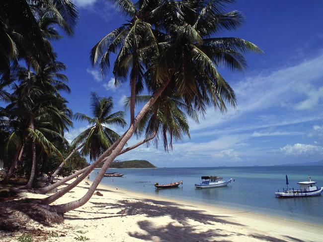 Idyllic ... Chaweng Beach on the Thai island of Koh Samui where two people reportedly drowned.