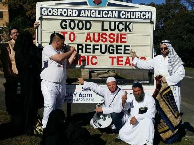 Party for Freedom members who stormed a Gosford church. Picture: Facebook