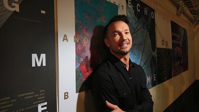 Carl Lentz backstage at a Hillsong Conference in Sydney. Picture: Toby Zerna