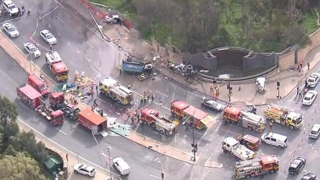 An aerial view of the horrific smash scene earlier this week. Picture: Ten Eyewitness News chopper.